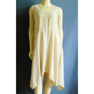 Flax Asymmetric Ecru 100% Linen Dress S